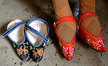In rural China, where the neon lights of the country's big cities don't shine, traces of the old country remain—hidden in tiny shoes. China Photos/Getty
