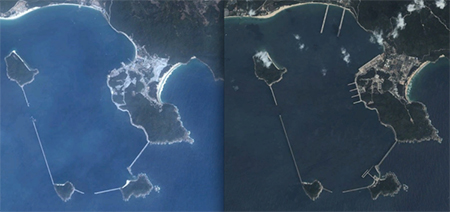 A comparison of satellite images of Yulin Naval Base from 2004 (left) and 2013 (right)