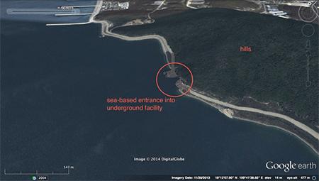 Sea-based entrance into underground facility