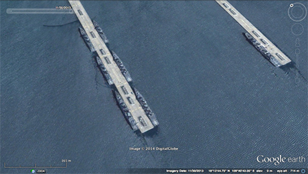 Chinese ships berthed at the 950m piers. Note the size of the piers relative to the ships.