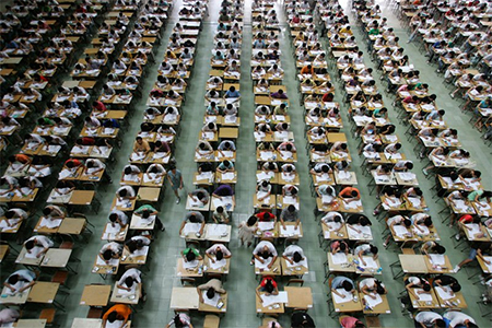Students taking the Chinese Gaokao exam
