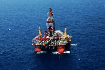 A drilling platform of China Oilfield Services. China has sent a new oil rig to explore the East China Sea.