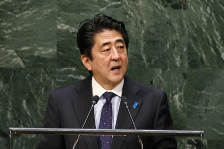 Japan's Prime Minister Shinzo Abe addresses the 69th United Nations General Assembly at United Nations Headquarters in New York, September 25, 2014