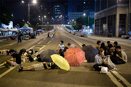 Protesters outside the central government offices in Hong Kong, Oct. 7