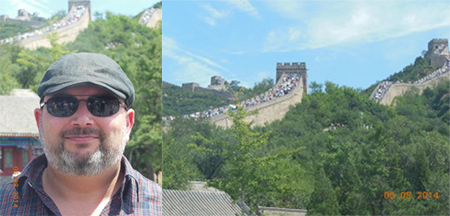 Left: Me with pre-climb, happy face as opposed to grimacing, post-climb, sweating-balls face. Right: The Wall's crowded easier climb