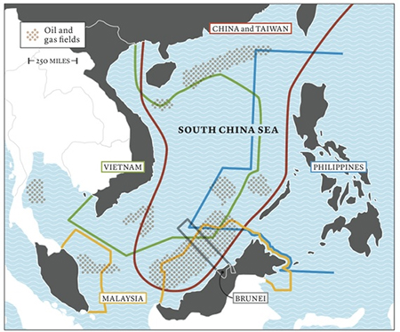 The South China Sea is home to many overlapping claims of maritime rights, as shown on the map above. Since 2009, China has asserted exclusive rights to more than 80 percent of the sea, enclosed by a line (in red) sometimes called the cow's tongue. The line has no international standing.