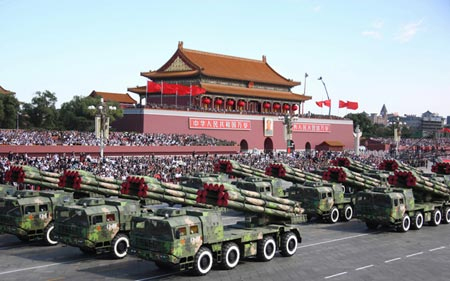 A military parade passes Tiananmen Square to mark the 60th anniversary of the People's Republic of China in 2009.