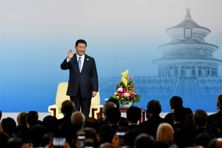Chinese President Xi Jinping at the opening ceremony of the 2014 Asia-Pacific Economic Cooperation (APEC) CEO Summit in Beijing