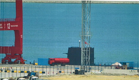 Chinese submarine and submarine rescue ship at Colombo.