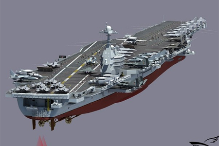 Picture of China-made aircraft carrier drawn by a web user