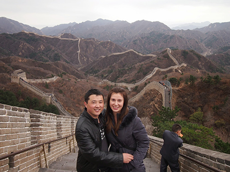 Wang Yanping and Catherine Swist-Wang on the Great Wall of China