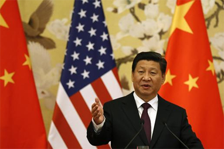 Chinese President Xi Jinping speaks during a news conference with U.S. President Barack Obama (not pictured) in the Great Hall of the People in Beijing November 12, 2014.