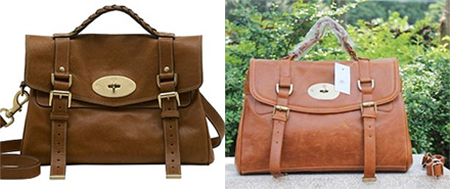 Bags of cash: A genuine Mulberry Alexa handbag (left), £4,000, and a copy sold for £20 abroad (right)