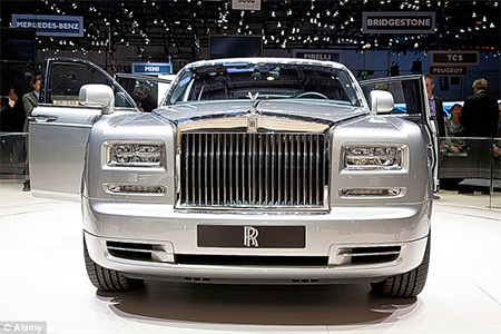 A touch of class: The Rolls Royce Phantom in silver, manufactured and sold in Britain for £250,000