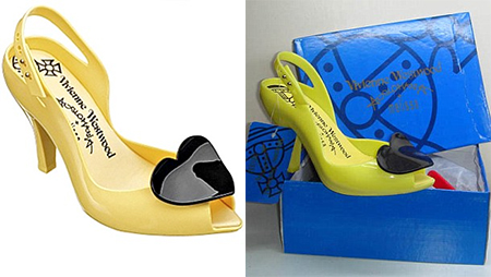 Real, left, a pair of £400 yellow and black patent shoes by British designer Vivienne Westwood. Right, in an imitation box, the Chinese version sold for £18