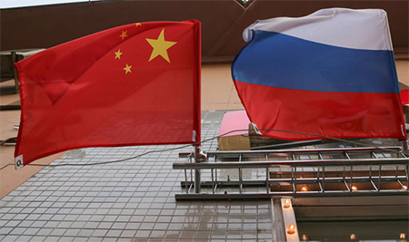 China Russia Flags