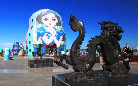 "A ""Russian-doll"" building in Inner Mongolia. China will not give up its partnership with Russia, an analyst says."
