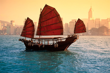 The Chinese junk on Victoria Harbour, Hong Kong