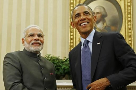 U.S. President Barack Obama and India's Prime Minister Narendra Modi end their meeting in the Oval Office of the White House in Washington September 30, 2014.