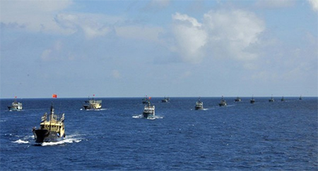 A fleet of 30 Chinese vessels arrived at the Spratlys in 2012