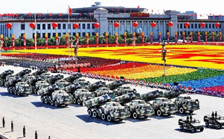 Missiles displayed at the last big military parade in Beijing in 2009. The event is usually held every 10 years on National Day on October 1. Photo: Xinhua