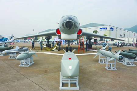 The H-6M and its weapons displayed at Zhuhai airshow