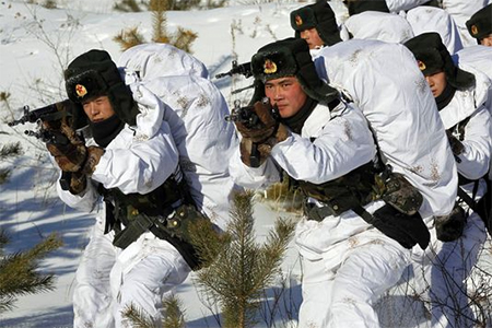 Chinese soldiers attend a winter training session Jan. 28 in freezing temperatures in Heihe, northeast China's Heilongjiang province.