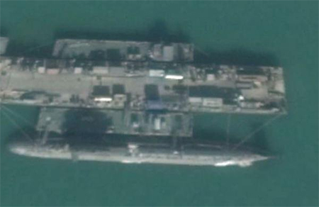 A 093A nuclear submarine in Google Map photo