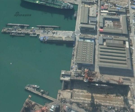 Three submarines in Google Map photo