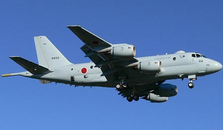 Japan's P-1 aircraft, which could patrol the South China Sea.