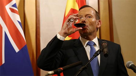 """Tony Abbott admits Australia's policies towards China are driven by two emotions: """"fear and greed""""."""