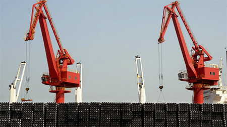 It was quieter than usual at China's ports in March.