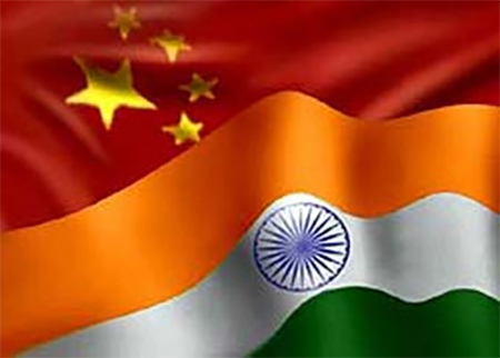 Chinese and Indian Flags