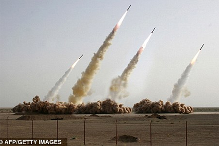 Missiles being test-fired at an undisclosed location.