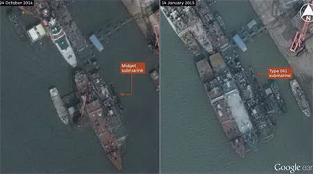 DigitalGlobe imagery published on Google Earth showing what appears to be a midget submarine at the Wuchang shipyard in Wuhan, China. A Type 041 conventional submarine berthed at the same site in January is shown for comparison. (IHS/Google, DigitalGlobe)