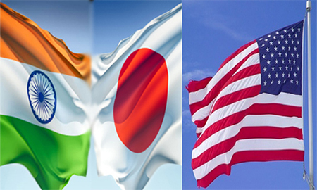 Indian, Japanese and American Flags