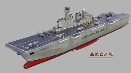 Model of Chian's Type 081 amphibious attack warship