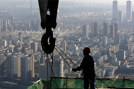 A construction site on the 68th storey of a building in Shenyang, China. Photograph: Sheng Li/Reuters