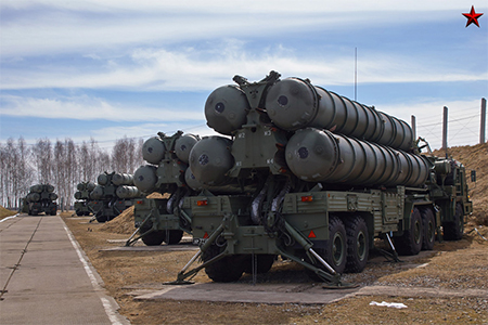 Russian S-400 air defense missiles are Russia's most advanced air defense system. It has a range of 400 km, can trace 72 and attack 36 targets simultaneously whether as high as 30,000 meters or as low as 5 meters. When a system is moving, it can be deployed for combat within 5 to 10 minutes.