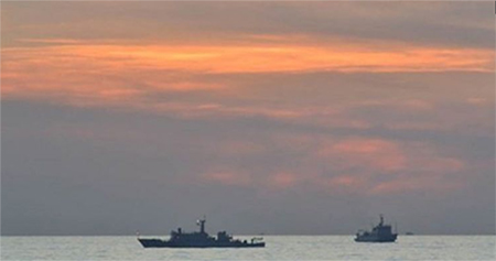 A Chinese surveillance ship is seen off Scarborough Shoal in the South China Sea