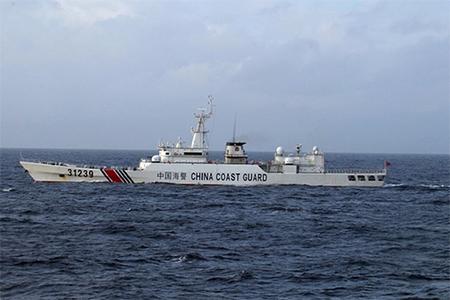A Chinese coastguard ship near the Senkaku islands in the East China Sea.