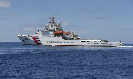 A Chinese coastguard vessel on the disputed Second Thomas Shoal, part of the Spratly Islands, in the South China Sea. Photograph: Erik de Castro/Reuters