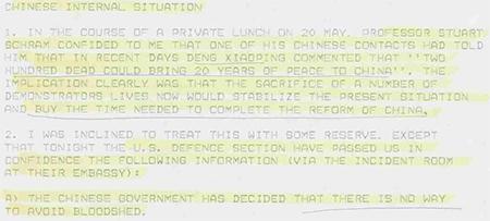 UK memo about China's plans to massacre innocent civilians