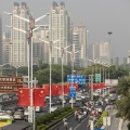 Chinese flags line in Nanning, Guangxi