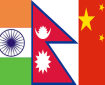 Indian, Nepalese and Chinese Flags
