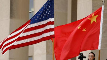 United States and Chinese Flags