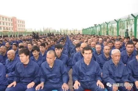 Detainees in a political education camp