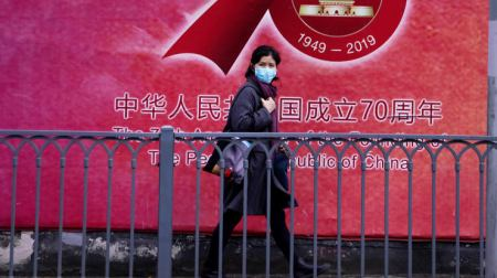Woman Wearing Face Mask in Shanghai