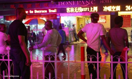 Africans Outside Chinese Hotel