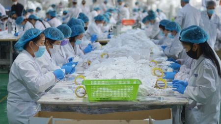 Chinese Workers Making Face Masks